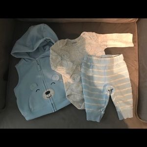 Carter's sweet little bear set in blue *LIKE NEW*